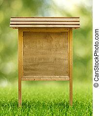 ξύλινος , πίνακας ανακοινώσεων