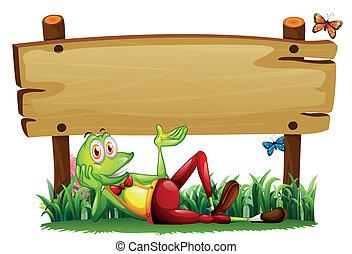 ξύλινος , πίνακας υπογραφών , βάτραχος , παιγνιδιάρης , κάτω από , αδειάζω