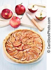 ξύλινος , πίττα , φρούτο , μήλο , φρέσκος , τραπέζι