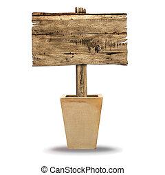 ξύλινος , σήμα , απομονωμένος , επάνω , white., ξύλο , γριά , επενδύω δι , σήμα