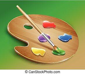 ξύλινος , τέχνη , παλέτα , με , απεικονίζω , και , brush., μικροβιοφορέας