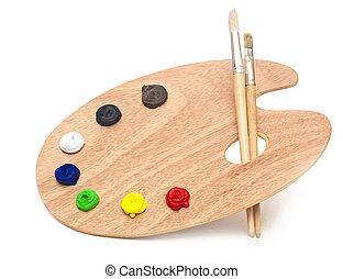 ξύλινος , τέχνη , παλέτα , με , βάφω , και , ακουμπώ , απομονωμένος , αναμμένος αγαθός