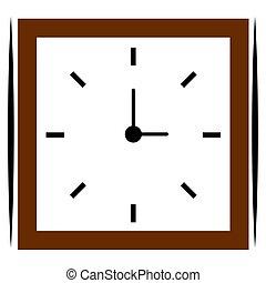 ξύλινος , τετράγωνο , απομονωμένος , ρολόι
