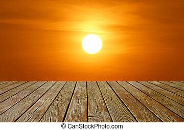 ξύλινος , όμορφος , ηλιοβασίλεμα , πάτωμα