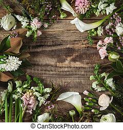 ξύλινο πλαίσιο , λουλούδια , φόντο