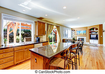 ξύλο , κλασικός , μεγάλος , κουζίνα , με , γρανίτης , island.