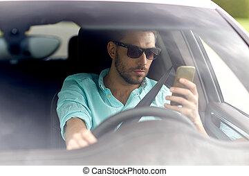 οδήγηση , αυτοκίνητο , γυαλλιά ηλίου , άντραs , smartphone