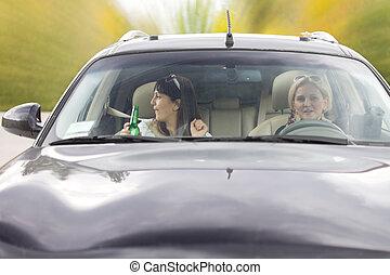 οδήγηση , μεθυσμένος , αυτοκίνητο , δυο , γυναίκα , φίλοι