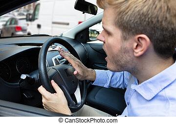 οδηγός , αντίτυπο δίσκου , θυμωμένος , κέρατο