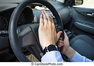 οδηγός , κέρατο , θυμωμένος , αντίτυπο δίσκου