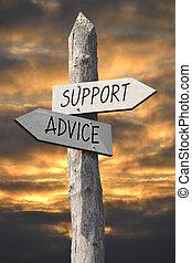 οδοδείκτης , υποστηρίζω , συμβουλή