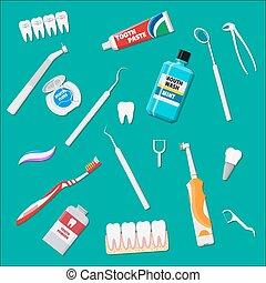 οδοντιατρικός , καθάρισμα , tools., προφορικά ανατροφή , υγιεινή , προϊόντα