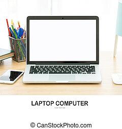 οθόνη , ηλεκτρονικός υπολογιστής , laptop , desk., άσπρο
