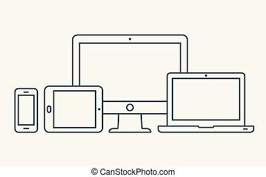 οθόνη , smartphone, περίγραμμα , δισκίο , icons., laptop , pc , μικροβιοφορέας