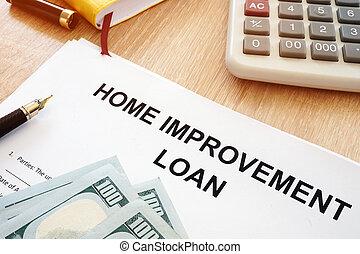 οικιακή βελτίωση , δανεικά αγωνιστική κατάσταση , και , χρήματα , επάνω , ένα , desk.