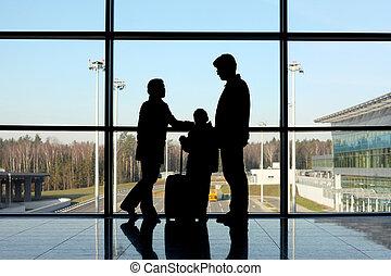 οικογένεια , ακάθιστος , παράθυρο , αεροδρόμιο , αποσκευέs , περίγραμμα