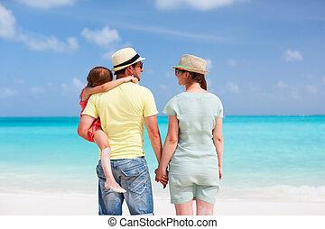 οικογένεια , ακρογιαλιά άδεια