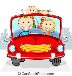 οικογένεια , αναμμένος άμαξα αυτοκίνητο