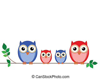 οικογένεια , από , κουκουβάγιες