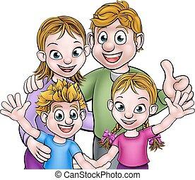 οικογένεια , γελοιογραφία , γράμμα