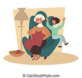 οικογένεια , γιαγιά , πλέξιμο , γιαγιά , παιδί , εγγονή , πολυθρόνα