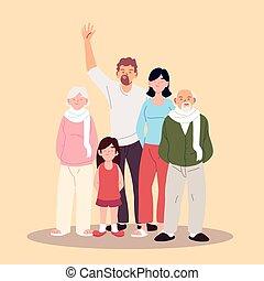 οικογένεια , γονείς , μεγάλος , κόρη , παππούς και γιαγιά