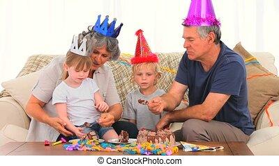 οικογένεια , επάνω , γενέθλια