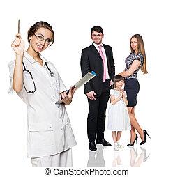 οικογένεια , επάνω , ιατρικός ανάκριση , με , ανώριμος ακάνθουρος