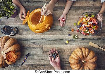 οικογένεια , επεξεργάζομαι , για , halloween.