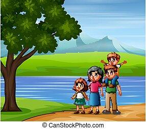 οικογένεια , ευτυχισμένος , φύση , έξω , βλέπω , απολαμβάνω