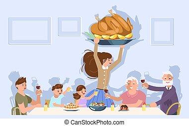 οικογένεια , ευχαριστήρια έκφραση γεύμα