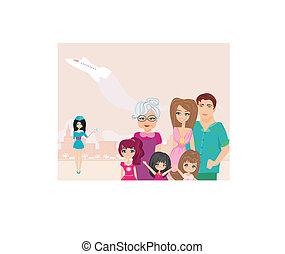 οικογένεια , μετάβαση , επάνω , ένα , διακοπές