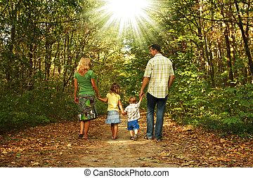 οικογένεια , νέος , μαζί , βόλτα