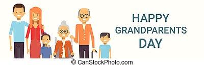 οικογένεια , παππούς και γιαγιά , χαιρετισμός , μαζί , μεγάλος , σημαία , ημέρα , κάρτα , ευτυχισμένος
