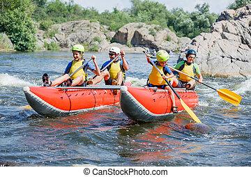 οικογένεια , ποτάμι , μαούνα