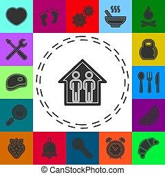 οικογένεια , σχετικός με την σύλληψη ή αντίληψη , εικόνα , house., εικόνα , μικροβιοφορέας , περίγραμμα