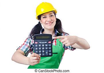 οικοδόμος , γυναίκα , άσπρο , αριθμομηχανή