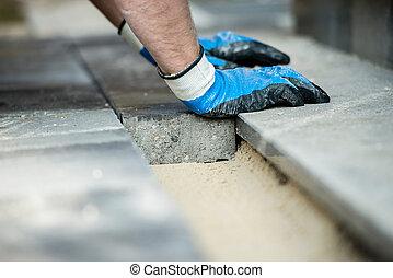 οικοδόμος , με γραμμές , καινούργιος , λιθόστρωση , τούβλα