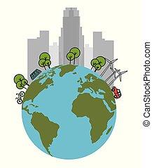 οικολογία , πράσινο , πόλη , με , γη , πλανήτης