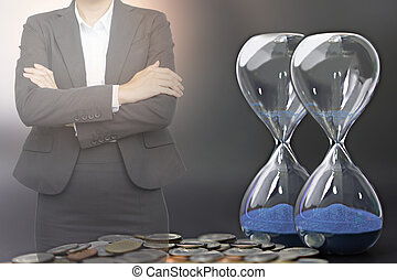 οικονομικός , αρμοδιότητα ακόλουθοι , concept., κέρματα , ώρα , επένδυση , κλεψύδρα