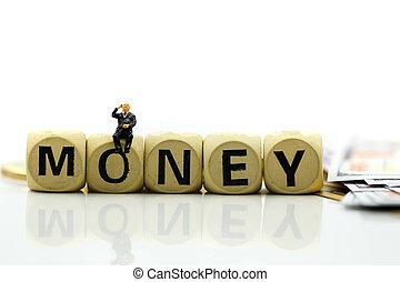 οικονομικός , people:, θημωνιά , επιχείρηση , concept., κορμός , χρήματα , μινιατούρα , επιχειρηματίας , κέρματα , ξύλινος , ανάπτυξη