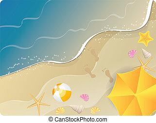 οκεανόs , σημαία , παραλία