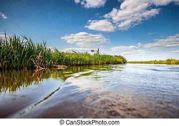 ολλανδία , ανορύσσω , channels., νερό , πόλντερ , τοπίο