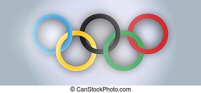 ολυμπιακός , illustration., αφίσα , δακτυλίδι , αθλητισμός , ρεαλιστικός , μικροβιοφορέας , σχεδιάζω , διεθνής , γιορτή , ημέρα
