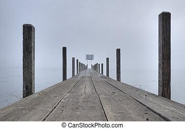 ομίχλη , πάνω , boardwalk.