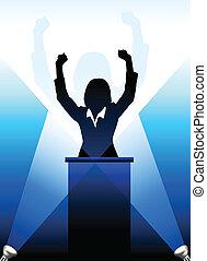 ομιλητής , βήμα αρχιμουσικού , περίγραμμα , πίσω ,...