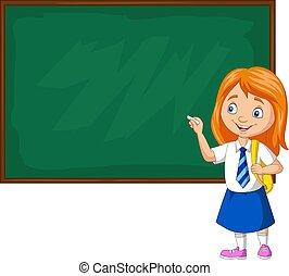 ομοειδής , γελοιογραφία , γράψιμο , μαθήτρια , μαυροπίνακας