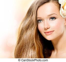 ομορφιά , girl., όμορφος , μοντέλο , με , τριαντάφυλλο , λουλούδι
