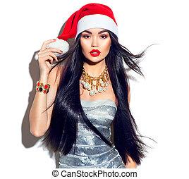 ομορφιά , xριστούγεννα , μανεκέν , κορίτσι , με , μακριά , ευθεία , αγοραία άμαξα γούνα , μέσα , κόκκινο , santa καπέλο