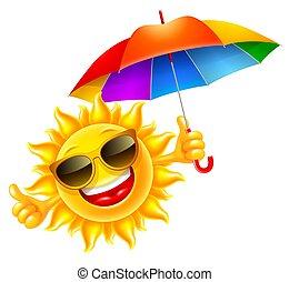 ομπρέλα , ιλαρός , με πολλά χρώματα , αμπάρι , ήλιοs